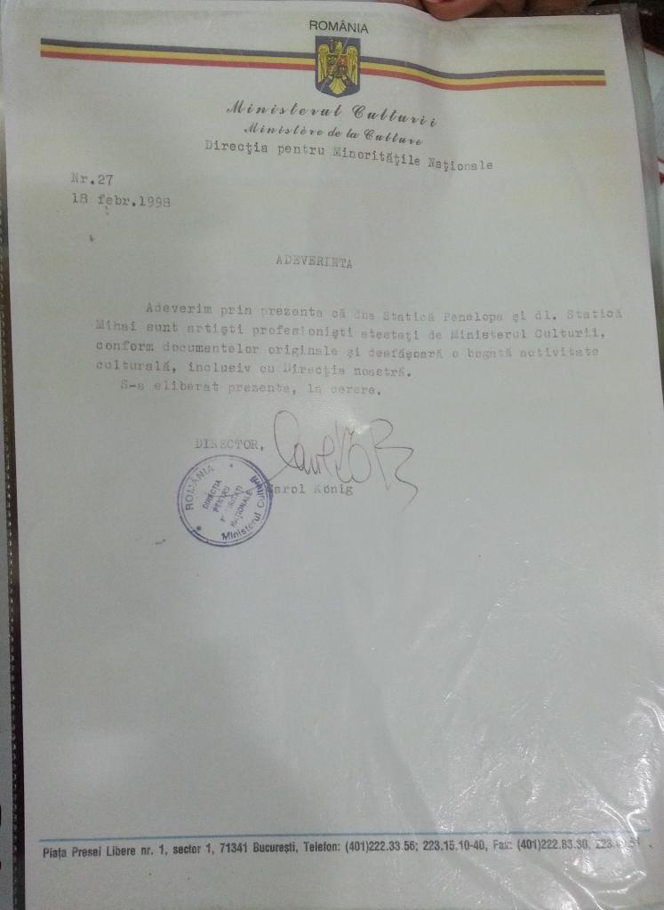 Adeverinta ministerul culturii directia pentru minoritati nationale