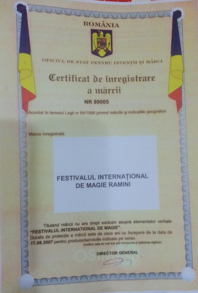 Certificat de inregistrare a marcii festivalul international de magie ramini