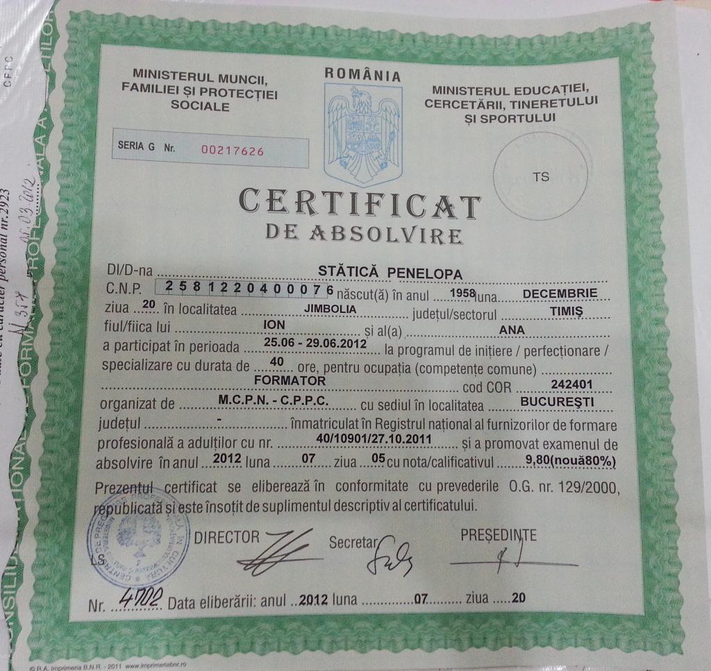 Certificat formator Penelopa Statica