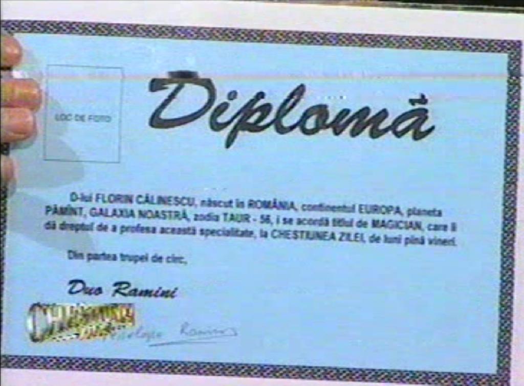 Diploma magician Florin Calinescu