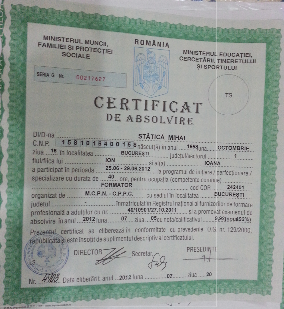 Certificat formator Mihai Statica