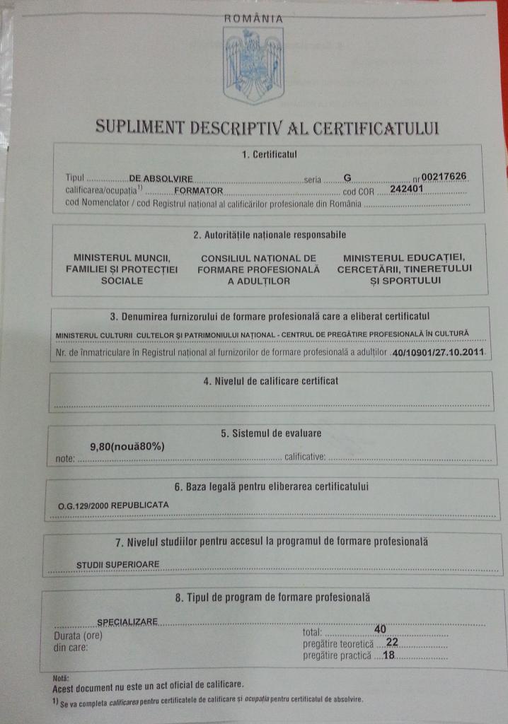 Supliment descriptiv al certificatului de formator