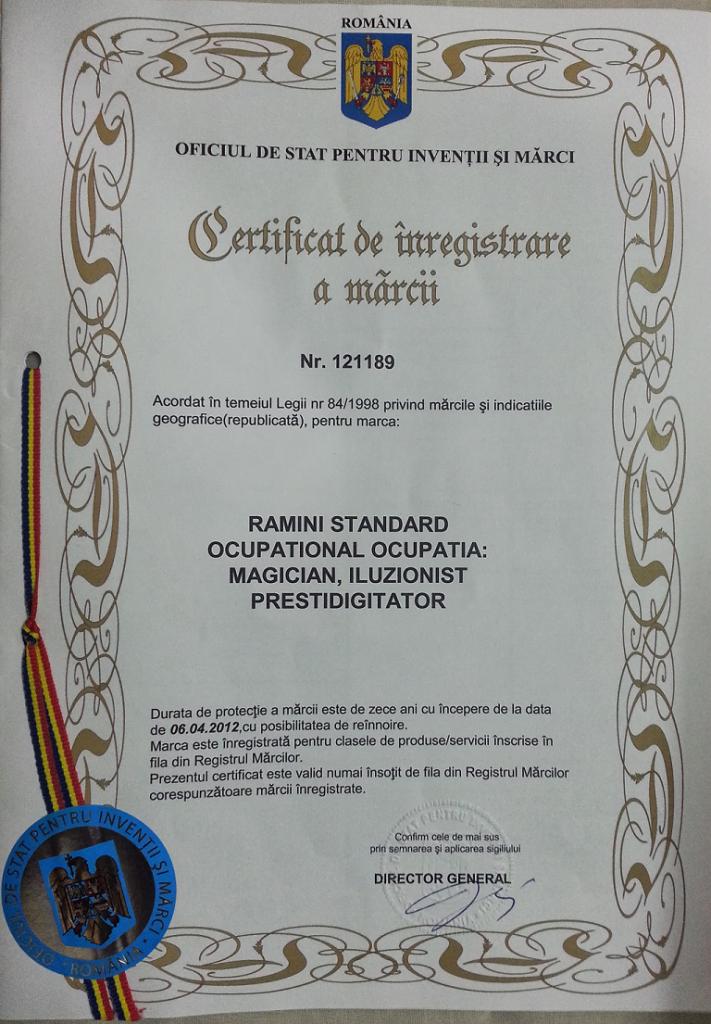 Certificat inregistrare marca