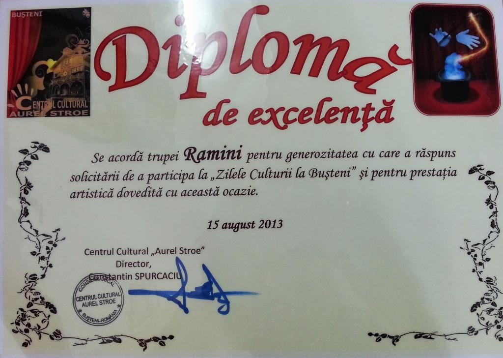 Diploma de excelenta Trupa Ramini