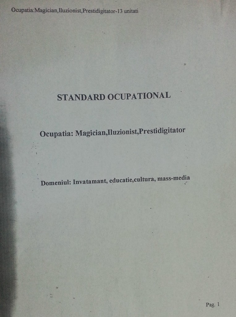 Standard ocupational magicieni iluzionisti prestidigitatori